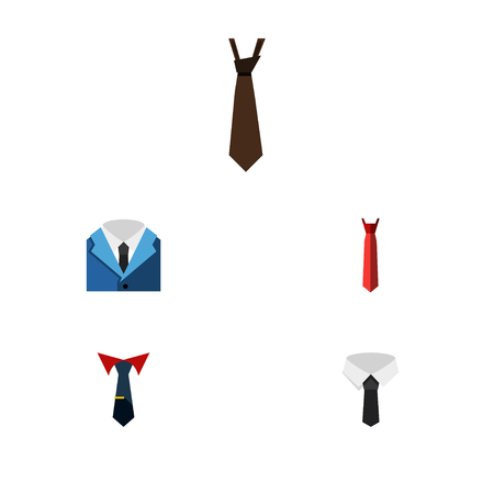 Flat Icon Necktie Set Of Textile, Tailoring, Suit And Other Vector Objects. Also Includes Shirt, Tailoring, Necktie Elements.
