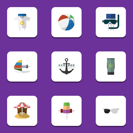 Flat Icon Summer Set Of Sundae, Scuba Diving, Moisturizer And Other Vector Objects. Also Includes Diving, Sphere, Sun Elements.