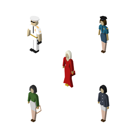 Isometric People Set Of Policewoman, Seaman, Female And Other Vector Objects. Also Includes Mariner, Girl, Teacher Elements.