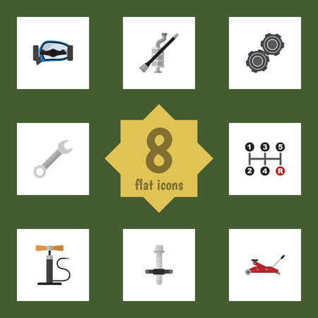 Flat Icon Auto Set Of Lifting, Belt, Carrying And Other Vector Objects. Also Includes Wheel, Coupler, Pipeline Elements. Illusztráció