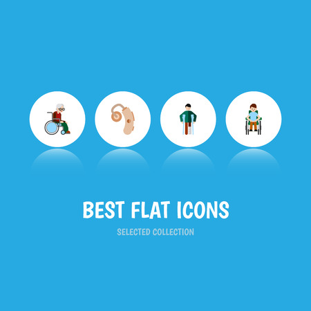 Flat Icon Handicapped Set Of Wheelchair, Disabled Person, Audiology And Other Vector Objects. Also Includes Aid, Handicapped, Crutch Elements.