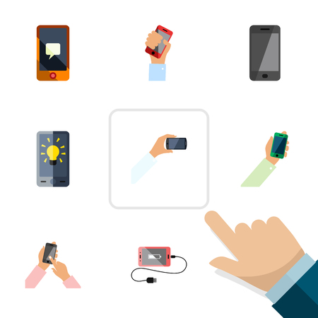 Flat Icon Phone Set Of Accumulator, Chatting, Interactive Display And Other Vector Objects. Also Includes Holding, Interactive, Screen Elements.