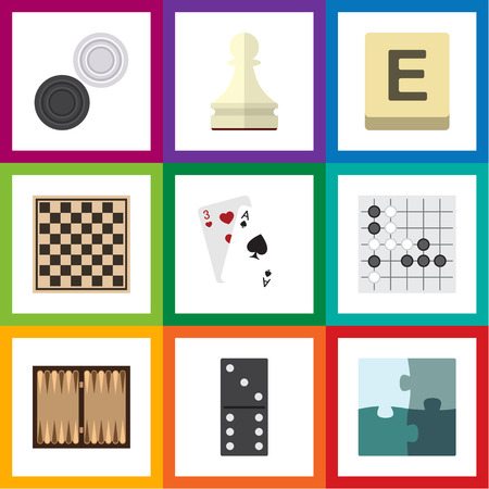 Flat Icon Play Set Of Dice, Jigsaw, Chequer And Other Vector Objects. Also Includes Domino, Jigsaw, Gomoku Elements.