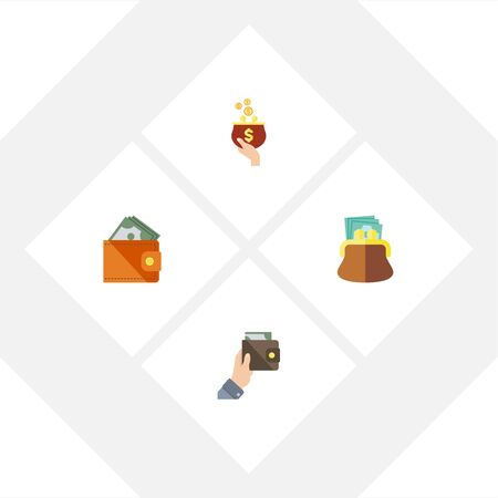Flat Icon Billfold Set Of Purse, Wallet, Currency And Other Vector Objects. Also Includes Purse, Currency, Payment Elements.