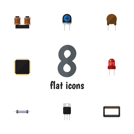 Flat Icon Appliance Set Of Resistor, Receiver, Triode And Other Vector Objects. Also Includes Resistor, Cpu, Copper Elements.