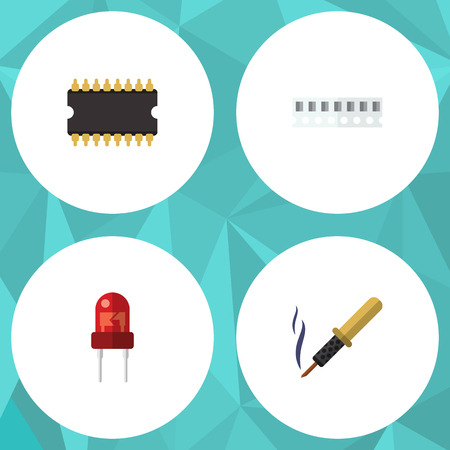 Flat Icon Device Set Of Repair, Recipient, Memory And Other Vector Objects. Also Includes Soldering, Transducer, Iron Elements.