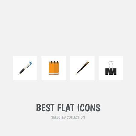 nib: Flat Icon Equipment Set Of Nib Pen, Paper Clip, Notepaper And Other Vector Objects. Also Includes Write, Nib, Pen Elements. Illustration