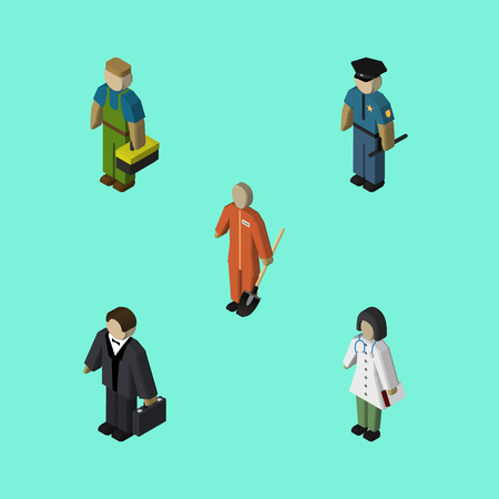 Isometric Person Set Of Doctor, Cleaner, Investor And Other Vector Objects. Also Includes Builder, Plumber, Worker Elements.