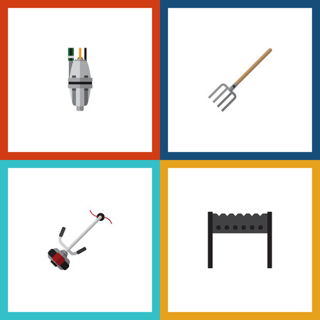 garden maintenance: Flat Icon Dacha Set Of Hay Fork, Pump, Barbecue And Other Vector Objects. Also Includes Bbq, Lawn, Equipment Elements.