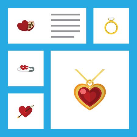 Flat Icon Set de la passion du coeur, Fermé, en forme de boîte et d'autres objets vectoriels. Comprend également l'amour, en forme, les éléments fermés.