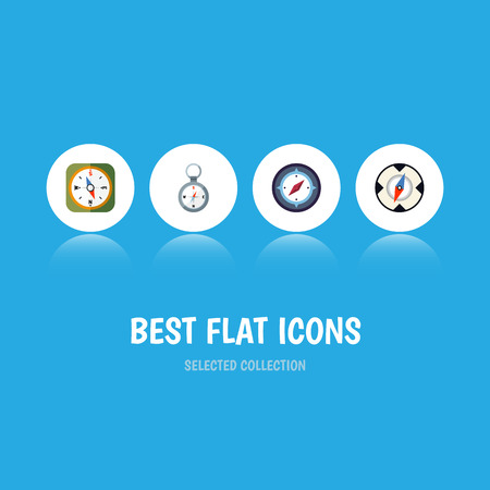 Flat Icon Direction Set Of Instrument, Magnet Navigator, Direction And Other Vector Objects. Also Includes Navigator, Orientation, Direction Elements.