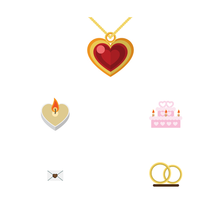 Flat Icon Love Set Of Letter, Ring, Necklace And Other Vector Objects. Also Includes Wedding, Engagement, Heart Elements. Illustration