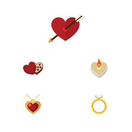Flat Icon Heart Set Of Fire Wax, Engagement, Necklace And Other Vector Objects. Also Includes Wedding, Heart, Box Elements.