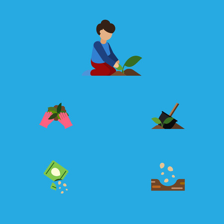 Flat Icon Sow Set Of Plant, Seed, Soil And Other Vector Objects. Also Includes Sowing, Florist, Seed Elements.