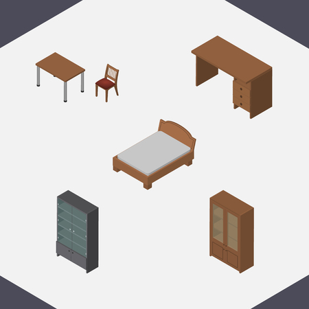 arredamento classico: Isometric design set of table, cabinet, bedstead and other vector objects. Also includes table, furniture, sideboard elements. Vettoriali