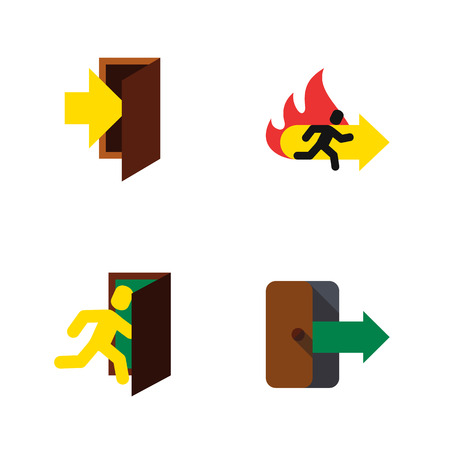 Flat Icon Exit Set Of Entry, Directional, Fire Exit And Other Vector Objects. Also Includes Arrow, Entry, Fire Elements.