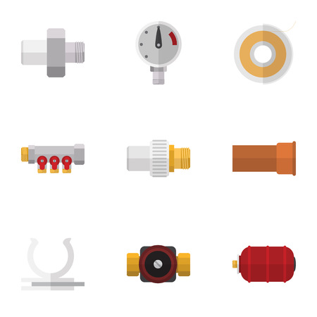 Flat Icon Pipeline Set Of Cast, Conduit, Tap And Other Vector Objects. Also Includes Controller, Connector, Pipework Elements. Illustration