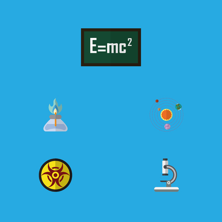 Flat Icon Science Set Of Milky Way, Danger, Flame And Other Vector Objects. Also Includes Risk, Optical, Flame Elements.