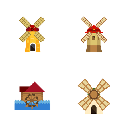 watermill: Flat icon energy set of turbine, watermill, windmill and other vector objects. also includes ecology, farm, waterwheel elements. Illustration