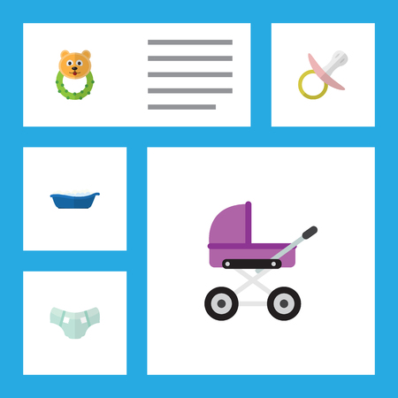 incontinence: Flat Icon Kid Set Of Nipple, Rattle, Stroller And Other Vector Objects. Also Includes Pram, Beanbag, Stroller Elements.