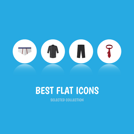 Flat Icon Dress Set Of Cravat, Pants, Uniform And Other Vector Objects. Also Includes Trousers, Tie, Leggings Elements.