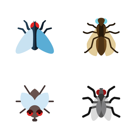 Flat Icon Buzz Set Of Housefly, Mosquito, Buzz And Other Vector Objects. Also Includes Housefly, Hum, Buzz Elements.