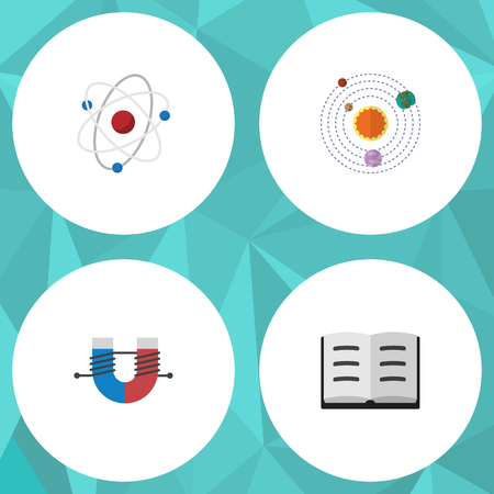 Flat Icon Knowledge Set Of Milky Way, Lecture, Attractive Force And Other Vector Objects. Also Includes Atom, Planets, Molecule Elements.
