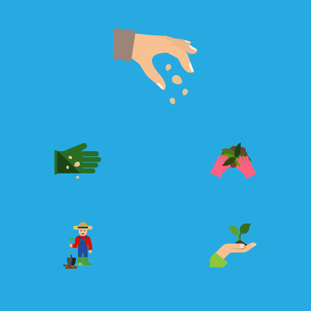 Flat Icon Seed Set Of Glove, Plant, Sow And Other Vector Objects. Also Includes Man, Care, Sow Elements.