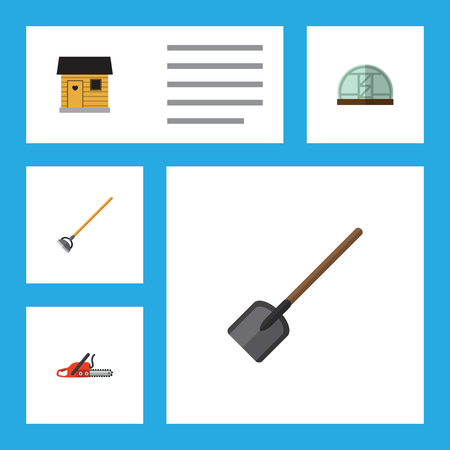 Flat Icon Garden Set Of Hothouse, Tool, Shovel And Other Vector Objects. Also Includes Tool, Barn, Hoe Elements.