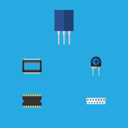 Flat Icon Appliance Set Of Mainframe, Transducer, Memory And Other Vector Objects. Also Includes Access, Random, Processor Elements.