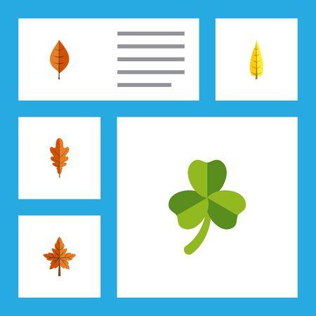 Platte pictogram gebladerte set van Linden, gebladerte, esdoorn en andere Vectorobjecten. Bevat ook Leafage, Linden, Frond Elements.