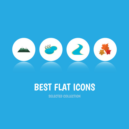 Flat Icon Bio Set Of Pond, Peak, Canadian And Other Vector Objects. Also Includes Pond, Peak, Pinnacle Elements. Illustration