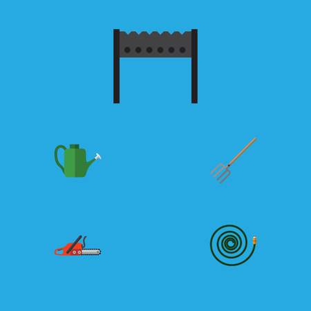 Flat Icon Dacha Set Of Hacksaw, Hosepipe, Bailer And Other Vector Objects. Also Includes Hosepipe, Tool, Bbq Elements. Illustration