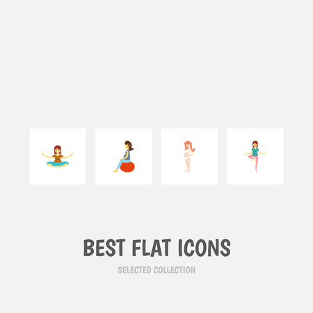 Flat Icon Pregnant Set Of Pregnancy, Meditation, Fitness And Other Vector Objects. Also Includes Woman, Meditation, Lady Elements.