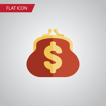 billfold: Isolated Billfold Flat Icon. Saving Vector Element Can Be Used For Billfold, Saving, Pouch Design Concept. Illustration