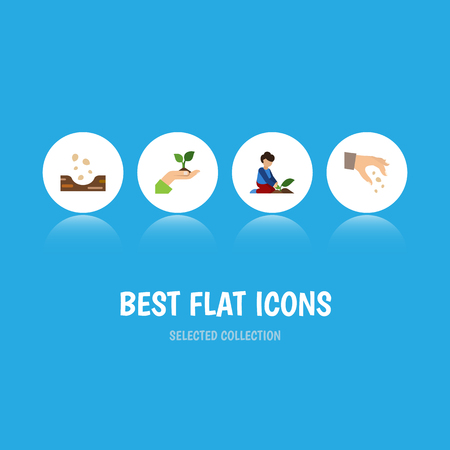 Flat icon seed set of sow, florist, care and other objects.