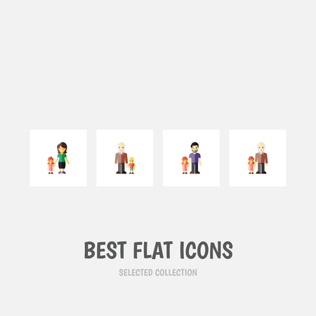 Flat icon relatives set of father, grandpa, daughter objects.