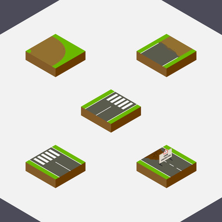 Isometric Road Set Of Unfinished, Repairs, Rotation And Other Vector Objects. Also Includes Construction, Footer, Road Elements.