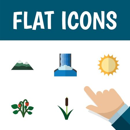 Flat Icon Natural Set Of Solar, Cascade, Peak And Other Vector Objects. Also Includes Peak, Sunshine, Sun Elements. Illustration