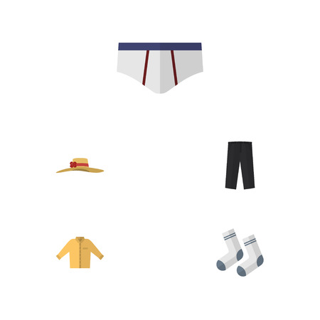 Flat Icon Garment Set Of Foot Textile, Pants, Underclothes And Other Vector Objects. Also Includes Headgear, Man, Underwear Elements. Illustration