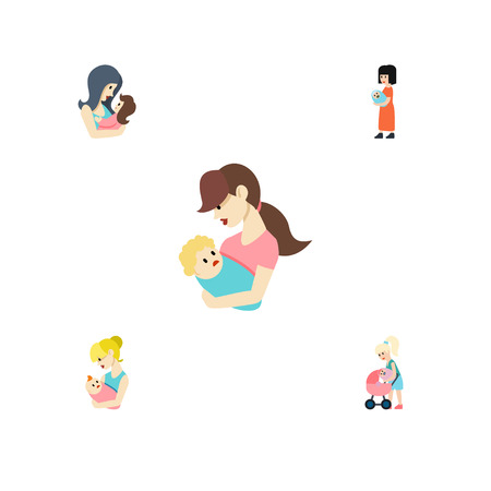 Flat Icon Mother Set Of Child, Baby, Mother And Other Vector Objects. Also Includes Mam, Mother, Perambulator Elements.