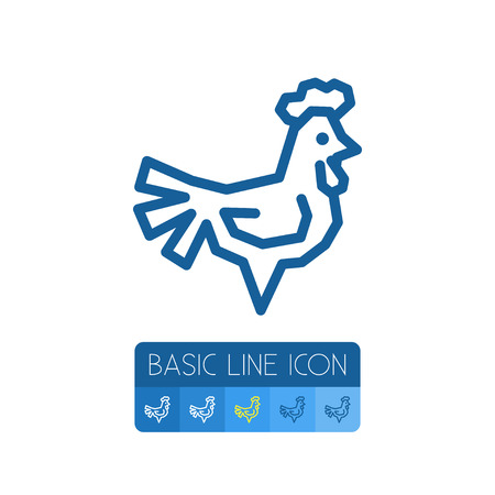 Isolated Cockerel Outline. Chicken Vector Element Can Be Used For Chicken, Cockerel, Rooster Design Concept.