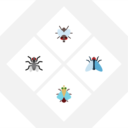 Flat Icon Fly Set Of Gnat, Tiny, Housefly And Other Vector Objects. Also Includes Buzz, Mosquito, Fly Elements. Illustration