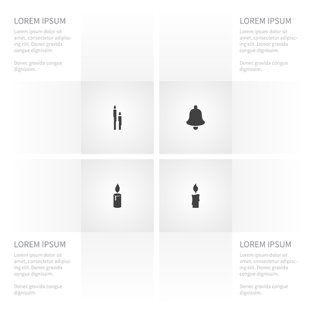 Icon Year Set Of Holiday, Illuminate, Candlelight Vector Objects. Also Includes Illuminate, Candle, Suppository Elements.