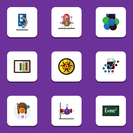 Flat Icon Science Set Of Diagram, Proton, Glass And Other Vector Objects. Also Includes Theory, Test, Diagram Elements.