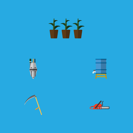 Flat Icon Farm Set Of Cutter, Hacksaw, Pump And Other Vector Objects. Also Includes Saw, Tank, Scythe Elements. Illustration