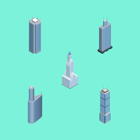 Isometric Construction Set Of Cityscape, Skyscraper, Apartment And Other Vector Objects. Also Includes Center, Cityscape, Tower Elements.