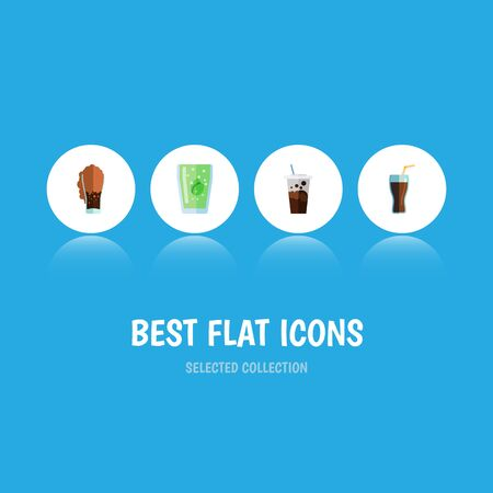 Flat Icon Soda Set Of Fizzy Drink, Soda, Cup And Other Vector Objects. Also Includes Carbonated, Drink, Soda Elements. Illustration