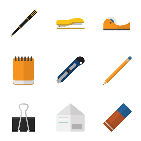 Flat Icon Stationery Set Of Supplies, Paper Clip, Nib Pen And Other Vector Objects. Also Includes Tool, Supplies, Adhesive Elements.