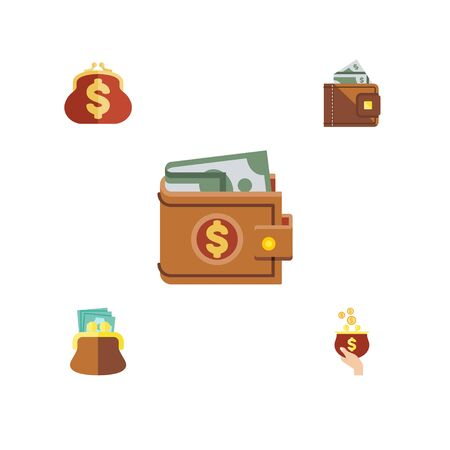 Flat Icon Billfold Set Of Money, Currency, Pouch And Other Vector Objects. Also Includes Billfold, Purse, Money Elements. Illustration